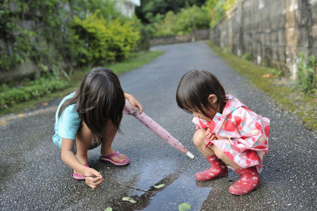 children enjoying nature